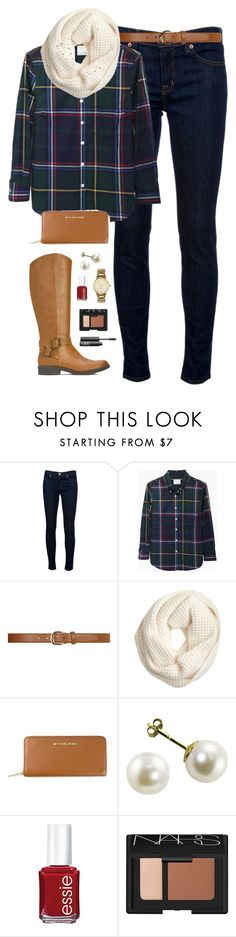 """plaid"" by classically-preppy ❤ liked on Polyvore featuring J Brand, Band of Outsiders, Dorothy Perkins, J.Crew, MICHAEL Michael Kors, Essie, Kate Spade and NARS Cosmetics"