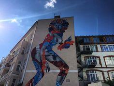 #streetpainting #mural #wall #graffiti #design #buildings #sky #blue #women #painting #colors #graffitiart #art #architecture #sunny #day #berlin #urban #urbanart #citylife #cool #streetart by magda_em