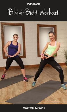 Build a Better Backside: 10-Minute Butt Workout:  4 circuits with 2 moves (around 2 min):  1. 180 hop AND Rev lunge (touch floor), push kick, lunch and squat.   2. Plie jacks with arms AND **** Plie hip dip 3.  Dancing dog *** AND Side plank hip lift (opt kick). 4.  Bridge Kick AND *** Table top kick