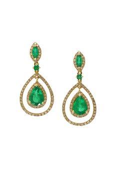 Effy Brasilica 14K Yellow Gold Emerald and Diamond Earrings, 2.88 TCW