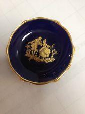 Limoges France Porcelaine d'Art Gold Gilt Cobalt Blue Miniature Plate.