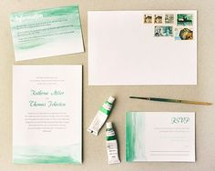We swoon over watercolor-inspired weddings and fell in love with this stationery suite created by Hey Look! There's a touch of DIY to this p...