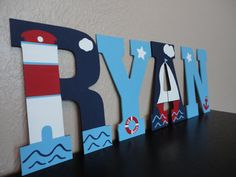 Hand Painted Wooden Letters- Nautical and Navy (Large) on Etsy, $14.00