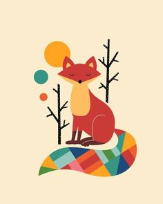 Rainbow Fox Art Print. I wonder if I could turn something like this into a quilt: