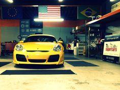 Set for work at Supercars - Yellow Porsche Cayman