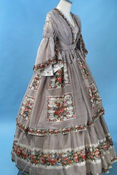 All The Pretty Dresses: Mid 1860's Dove Grey Dress with Rose Print