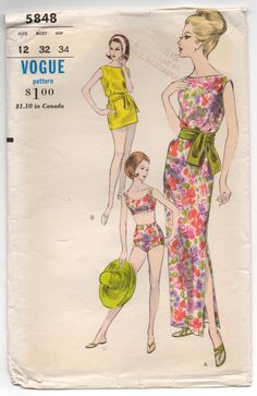 """1960's Vogue Two-Piece Swim Suit, One-Piece Dress and Tunic Pattern - Bust 32"""" - UC/FF - No. 5848 by backroomfinds on Etsy"""