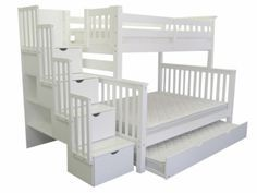 Bunk Bed Twin over Full Stairway White with Full Trundle