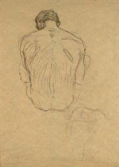 Sitzender männlicher Rückenakt, Detailstudie von Ringenden (Studie für 'Medizin') 1900 Klimt