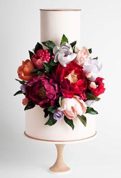 White 2 tier red floral wedding cake by Squires Kitchen / Garden