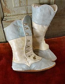 Antique TALL Blue / White Button Boots for Small Child / Large Doll from ~ BARNDUST ~ found @Doll Shops United http://www.dollshopsunited.com/stores/barndust/items/1287449/Antique-TALL-Button-Boots-for-Small-Child-Large-Doll #dollshopsunited