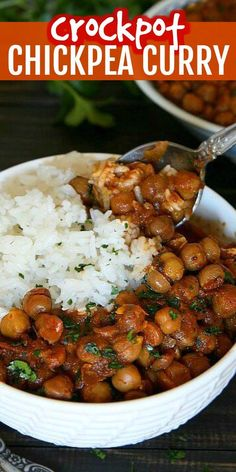 This Vegan Chickpea Curry Recipe is easy and made from scratch with very little effort. The thick sauce is made in the slow cooker & then you just spoon it over rice. Slow Cooker Chickpea Curry, Vegan Chickpea Curry, Vegan Slow Cooker, Chickpea Recipes, Vegan Crockpot Recipes, Curry Recipes, Vegan Recipes Easy, Slow Cooker Recipes, Real Food Recipes