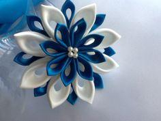 Hair Clip - Brilliant Blue Peacock Blue Ivory Kanzashi Flower - Wedding Hair Accessories Bridal Flowers Wedding Flowers