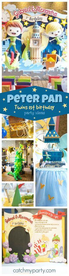 This Twins Peter Pan inspired 1st birthday is adorable! Just check out the backdrop! Wow!! The decorations are amazing! See more party ideas at CatchMyParty.com