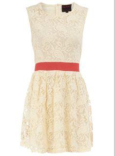 Lemon and coral lace dress