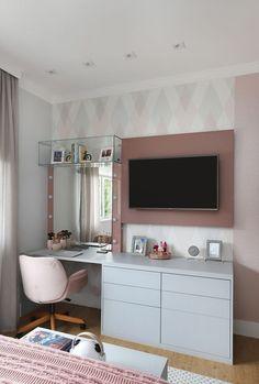 Room Design Bedroom, Room Ideas Bedroom, Home Room Design, Small Room Bedroom, Home Decor Bedroom, Bedroom With Tv, Teen Bedroom Designs, Interior Livingroom, Bedroom Decor For Teen Girls