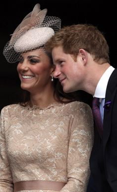Catherine, Duchess of Cambridge, and Prince Harry smile as they leave a service of thanksgiving at St Paul's Cathedral on June 5, 2012, in London.