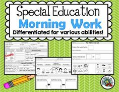 Special Education Morning Work Included in this set are 10 pages of daily skills practice ideal for students in special education. These pages are meant [. Life Skills Classroom, Autism Classroom, Classroom Ideas, Inclusion Classroom, Google Classroom, School Classroom, Teaching Special Education, Education Quotes For Teachers, Teaching Tools
