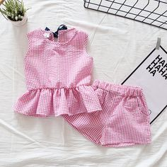 Check out this great stuff I just found at PatPat! Check out my new Pretty Plaid Ruffle Tank Top and Shorts Set for Baby Girl and Girl, snagged at a crazy discounted price with the PatPat app. Girls Summer Outfits, Dresses Kids Girl, Kids Outfits, Summer Clothes, Baby Dress Design, Girl Sleeves, Sweater And Shorts, Girl Shorts, Baby Outfits Newborn