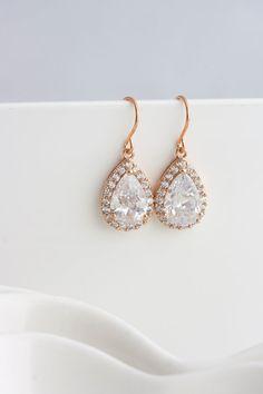 Rose Gold Earrings Dainty Bridal Earrings Wedding by LuluSplendor