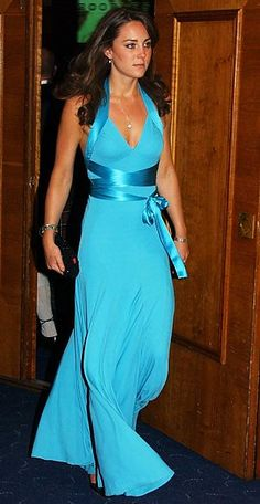 6/3/06 - Kate wore a floor length aqua colored gown for the event by BCBG.