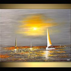Canvas Art, Modern Wall Art, Stretched, Embellished & Ready-to-Hang Print - Free Spirit - Art by Osnat Seascape Paintings, Landscape Paintings, Art Paintings, Acrylic Landscape, Sailboat Art, Spirited Art, Art Moderne, Texture Painting, Art Texture