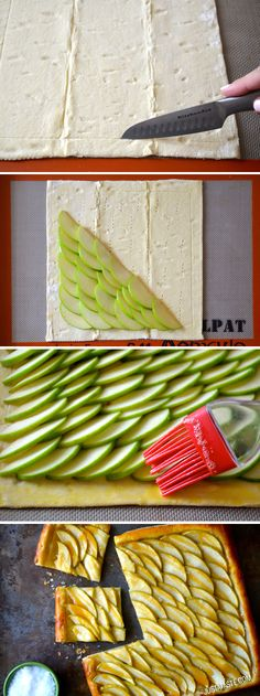 Easy Salted Caramel Apple Tart #recipe from justataste.com