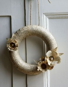 Want to add a literary touch to your wedding? Consider adding wreaths and other objects made from recycled book pages.