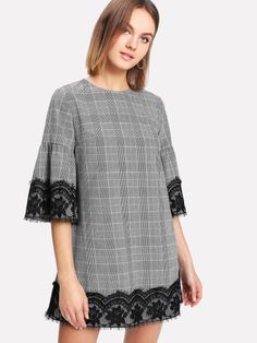 SheIn offers Eyelash Lace Detail Trumpet Sleeve Plaid Dress & more to fit your fashionable needs. Casual Dresses, Fashion Dresses, Dresses For Work, Dresses With Sleeves, Sleeve Dresses, Casual Wear, Classy Work Outfits, Mode Hijab, Plaid Dress