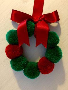Christmas wreath decoration pom pom wreath by BrightIslandUK - Bright Island Christmas Pom Pom Crafts, Knitted Christmas Decorations, Xmas Decorations, Christmas Projects, Kids Christmas, Holiday Crafts, Christmas Wreaths, Christmas Ornaments, Etsy Christmas