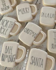 I don't wanna be with Christmas! But if I have to be I'm glad I got to do a set of mugs to wrap it up! I'm breaking out my… Fancy Cookies, Iced Cookies, Cut Out Cookies, Cute Cookies, Royal Icing Cookies, Cookie Desserts, Cupcake Cookies, Sugar Cookies, Cupcakes