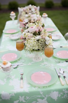 Gorgeous Peach and Mint Green inspired table design- from style shoot by Serendipity Bridal and Events (my mom and sis!)