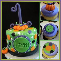 Lil Pumpkin 1st Birthday Cake by Sweets by Jen, via Flickr - but with all oranges and browns...