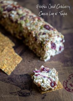 "Pumpkin Seed Cranberry ""Cheese"" Log with Thyme // dairy free, made with cashew cheese via Rawmazing #healthy #clean #vegan"