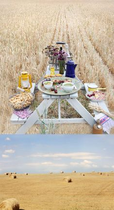 you cannot really get more rustic than a picnic in the middle of a field of straw...