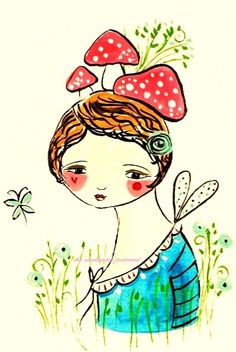 cute, but... mushrooms on her head?  Maybe a fungi feary?