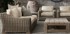 Provence Collection - contemporary - patio furniture and outdoor furniture - Restoration Hardware Rh Furniture, Restoration Hardware Outdoor Furniture, Outdoor Furniture Sets, Pallet Furniture, Garden Furniture, Furniture Ideas, Wicker Patio Furniture, Antique Furniture, Outdoor Lounge