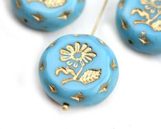22mm Sky Blue Flower Focal bead, Gold wash, Czech glass Round tablet floral ornament beads - 1pc - 1709 by MayaHoney on Etsy