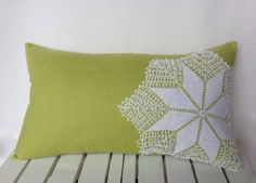 Green white vintage doily floral pillow by ThatDutchGirlPillows Green Pillow Covers, Green Pillows, Floral Pillows, Accent Pillows, Needlepoint Pillows, Needlepoint Kits, Home Decor Fabric, Fabric Crafts, Doilies Crafts