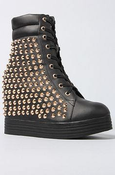 Jeffrey Campbell The Plaster Sneaker in Black and Gold Stud : MissKL.com - Cutting Edge Women's Fashion, Accessories and Shoes.