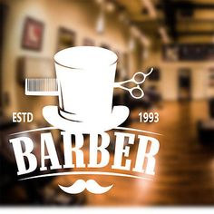 Barber Shop Wall Sticker personalised decal transfer art hair graphic bb6