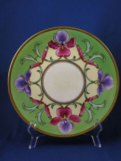 "Delinieres & Co. (D&Co.) Limoges Arts & Crafts Iris Motif Plate (Signed ""A. Simon, Chicago""/c.1894-1900)"