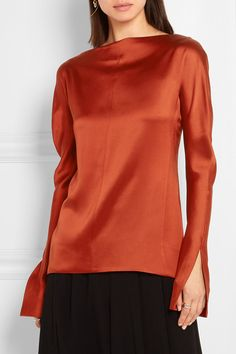 Copper silk-charmeuse  Button fastenings through back 100% silk Dry clean…