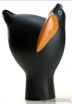 Arabia � Howard Smith - Large Black Parvi Bird Pottery Vase, Ceramic Pottery, Bennington Pottery, I Like Birds, Organic Art, Rare Birds, Ceramic Birds, Bird Sculpture, Bird Design
