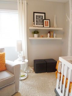 Grey white orange tangerine baby room nursery perfect for boy girl....neutral. Love it!