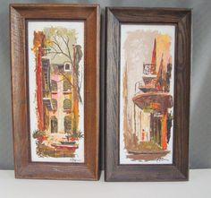 Edmund Blovin Oil on Board Paintings Set of 2 New Orleans Artist