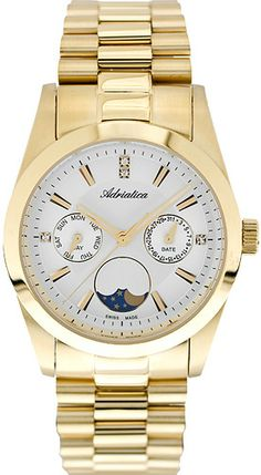 Zegarek damski Adriatica A3802.1193QF - sklep internetowy www.zegarek.net Gold Watch, Watches, Accessories, Wristwatches, Clocks, Jewelry Accessories