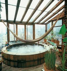 Dreaming of a bath under the stars. jacuzzi whirlpool and hot bathtubs- From Moon to Moon it would be nice to have the hamock in the bath Bohemian House, Bohemian Style Rooms, Bohemian Interior, Boho Gypsy, Hippie Boho, Interior Exterior, Exterior Design, Room Interior, Deco House