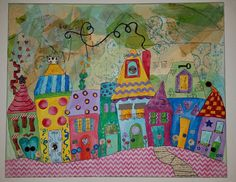 My Dream Neighborhood Landscape Art Quilts, Landscapes, Art Projects, Sewing Projects, Doodle Paint, Whimsical Art, Pattern Paper, Painting Inspiration, Watercolor Art