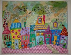 My Dream Neighborhood Landscape Art Quilts, Landscapes, Doodle Paint, Whimsical Art, Pattern Paper, Painting Inspiration, Home Art, Watercolor Art, Quilt Patterns